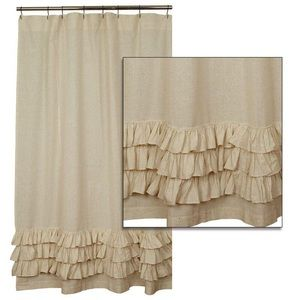 Other - Shabby Chic Flax Ruffled Shower Curtain